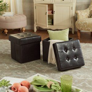New Faux Leather Fold-up Storage Ottomans